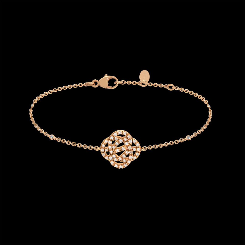 Bracelet or rose et diamants