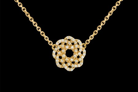 Collier or jaune et diamants