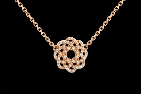 Collier or rose et diamants